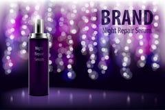 Producto hidratante cosmético de la marca Botella violeta brillante del suero de la reparación de la noche en un fondo oscuro con stock de ilustración