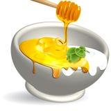Producto lácteo y miel Imagen de archivo libre de regalías