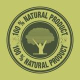 Producto natural de la etiqueta el 100% Fotos de archivo