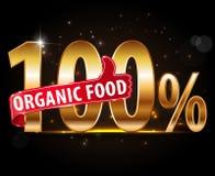 producto natural del 100%, tipografía orgánica del 100% con el pulgar encima del icono Fotos de archivo libres de regalías