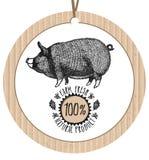 Producto natural fresco de la granja de cerdo de la etiqueta de la cartulina Imagen de archivo