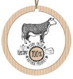 Producto natural fresco de la granja de la vaca de la etiqueta de la cartulina Fotos de archivo libres de regalías