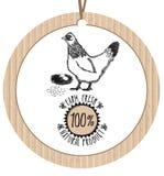 Producto natural fresco de la granja de pollo de la etiqueta de la cartulina Fotos de archivo
