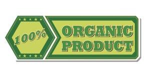 producto orgánico de 100 porcentajes - etiqueta verde retra Foto de archivo libre de regalías