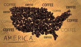 Productor del grano de café del mapa de América en el papel viejo stock de ilustración