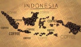 Productor del grano de café del mapa de Indonesia en el papel viejo Imagen de archivo
