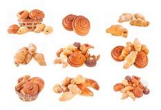 Productos alimenticios de la panadería fijados Imagen de archivo libre de regalías