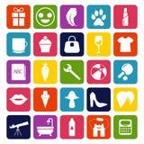 Productos alimenticios del hogar y Colección de iconos del vector Imagen de archivo libre de regalías