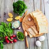 Productos alimenticios para los bocadillos Foto de archivo libre de regalías
