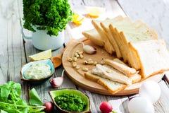 Productos alimenticios para los bocadillos Imagen de archivo libre de regalías
