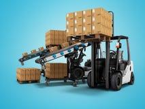 Productos cargados modernos de la carretilla elevadora en las cajas de papel en las plataformas de madera 3d rendir en fondo azul stock de ilustración