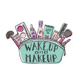 Productos cosméticos del skincare femenino en un bolso cosmético Ilustración del vector stock de ilustración