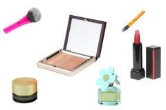 Productos cosméticos Sistema del collage o colección de cosmético y de productos de belleza aislados en un fondo blanco Accesorio foto de archivo