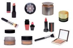 Productos cosméticos Sistema del collage o colección de cosmético y de productos de belleza aislados en un fondo blanco Accesorio fotografía de archivo libre de regalías