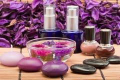 Productos de belleza del balneario Foto de archivo libre de regalías