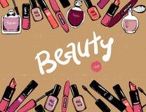 Productos de belleza de los elementos de los cosm?ticos cosméticos exhaustos de la mano del marco maquillaje bandera del maquilla stock de ilustración