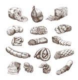Productos de carne stock de ilustración