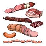 Productos de carne en un fondo blanco Foto de archivo libre de regalías