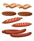 Productos de carne gastronómicos en estilo de la historieta Vector el filete de los iconos, barbacoa, cordero, tajadas, tocino, c stock de ilustración