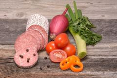 Productos de carne procesados Fotografía de archivo libre de regalías
