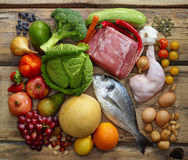 Productos de dieta de Paleo Foto de archivo libre de regalías