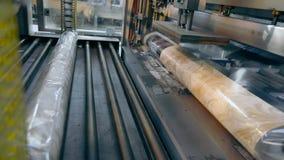 Productos de empaquetado en la fábrica, envolviendo el papel pintado en celofán Transportador moderno almacen de metraje de vídeo