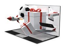 Productos de escritorio 3d-illustration de los regalos del ordenador Imagen de archivo libre de regalías