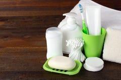 Productos de higiene personal Fotografía de archivo libre de regalías