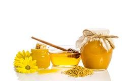 Productos de la abeja: miel, polen, panal en el fondo blanco Fotos de archivo libres de regalías