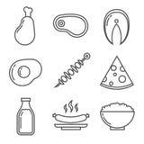 Productos de la lechería y de carne con la proteína animal Alimento stock de ilustración