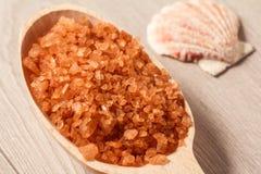 Productos de la naturaleza del balneario Cuchara de madera con la sal marrón del mar para el bathro imagenes de archivo