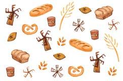 Productos de la panadería, impresión que cuece Modelo incons?til de los pasteles Fondo lindo de la cocina stock de ilustración