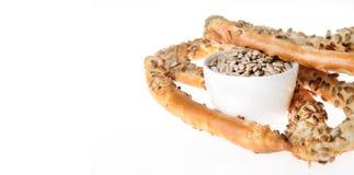Productos de la panadería pretzeles fotografía de archivo
