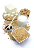 Productos de la soja Imagen de archivo libre de regalías