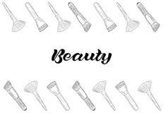 Productos de los cosméticos, bandera del maquillaje de la moda stock de ilustración