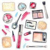 Productos de maquillaje de la acuarela fijados Fotografía de archivo libre de regalías