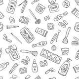Productos de maquillaje fijados Cosméticos Ejemplo dibujado mano inconsútil del vector ilustración del vector