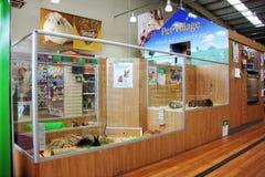 Productos del animal doméstico en un supermercado del animal doméstico Imagen de archivo