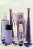Productos del baño de la lavanda Foto de archivo libre de regalías