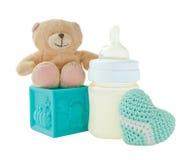 Productos del bebé en el fondo blanco foto de archivo libre de regalías