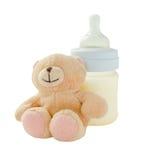 Productos del bebé en el fondo blanco fotos de archivo libres de regalías