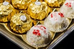 Productos del chocolate de la colección de Ferrero Fotos de archivo libres de regalías
