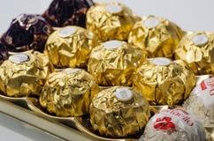 Productos del chocolate de la colección de Ferrero Fotografía de archivo