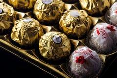 Productos del chocolate de la colección de Ferrero Imagen de archivo