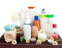 Productos del cuarto de baño y del cuerpo-cuidado Fotografía de archivo libre de regalías