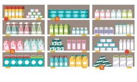Productos del hogar en los estantes del supermercado ilustración del vector