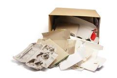 Productos del papel usado en caja de cartón Fotografía de archivo