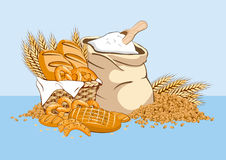 Productos del trigo con el bolso de la harina Imagen de archivo