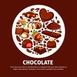 Productos deliciosos del chocolate del cartel promocional de alta calidad stock de ilustración
