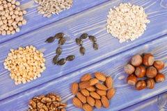 Productos e ingredientes que contienen el cinc y la fibra dietética, nutrición sana imagen de archivo libre de regalías